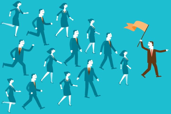 Illustration of follow the leader