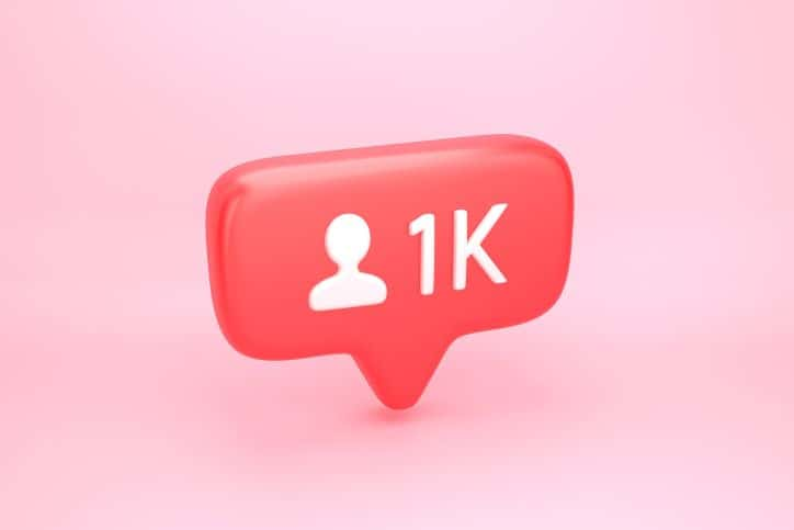 Illustrated follower comment bubble showing 1k user comments