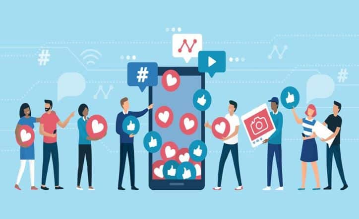 Illustration of influencer attracting an engaged audience