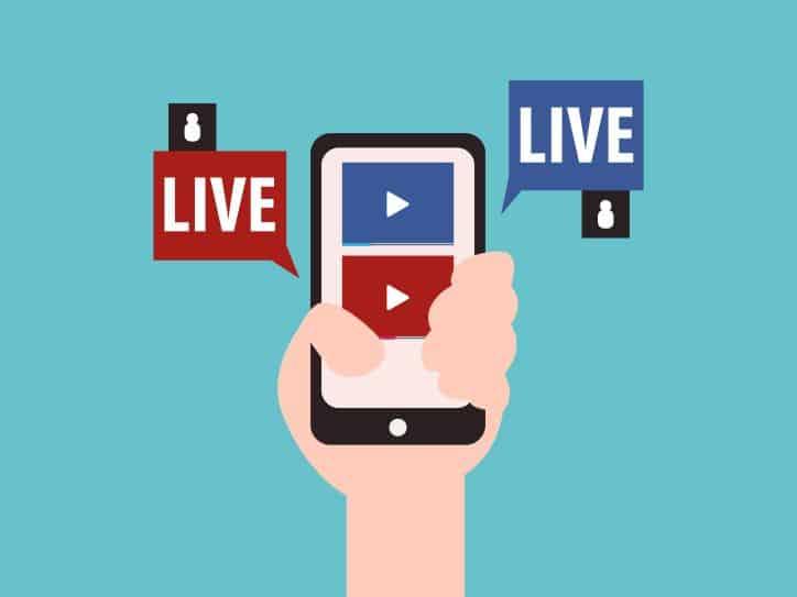 Illustration of influencer going Live on mobile