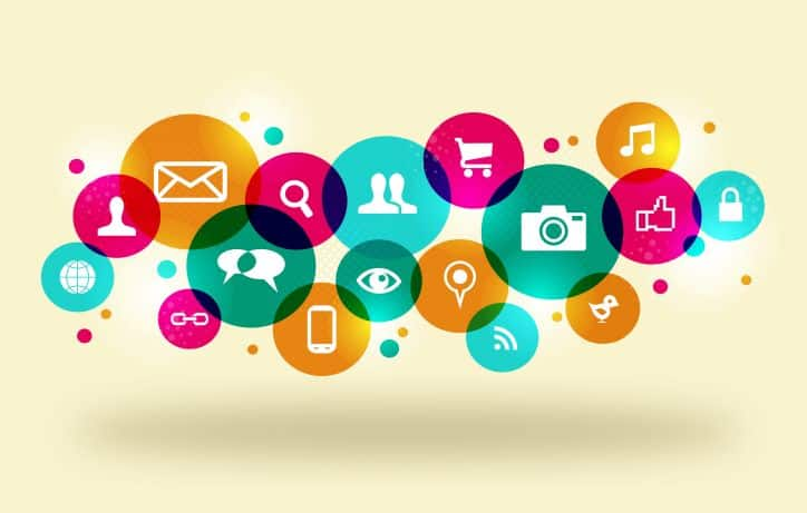 Various colorful social engagement icons