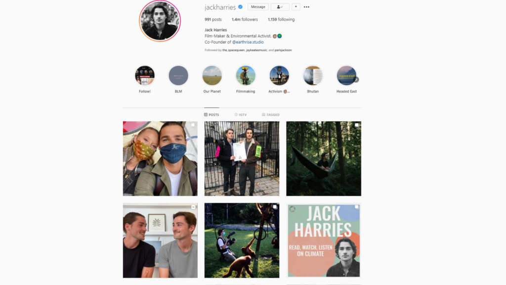 Jack Harries - Film-Maker and Environmental Activist   Instagram Page