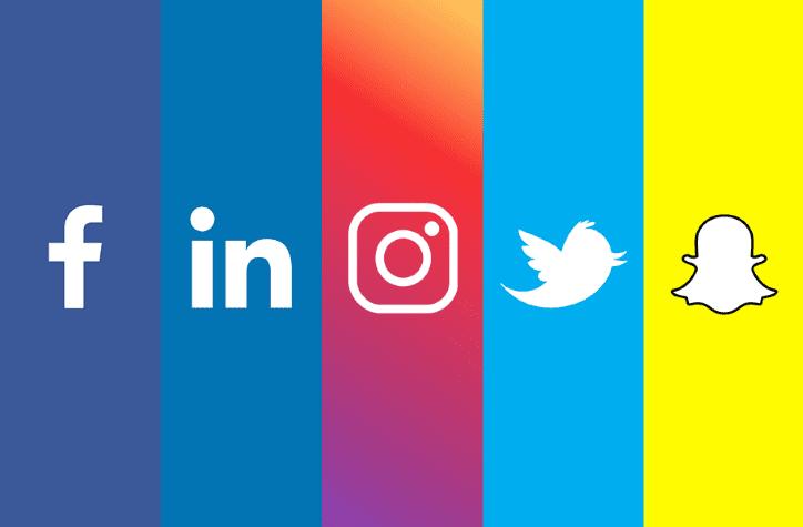 Social media logos side-by-side   facebook, instagram, twitter, snapchat, linkedin