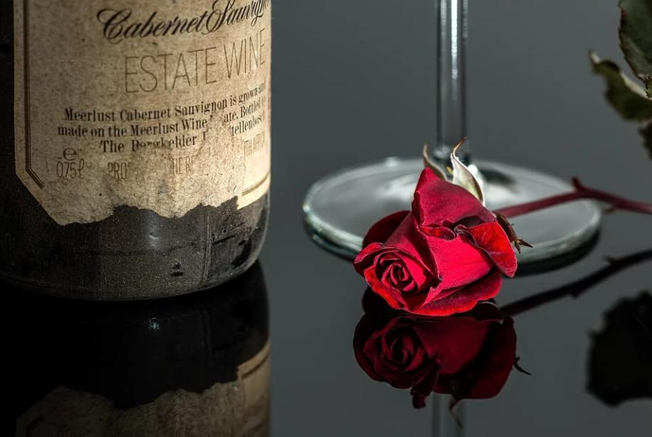 Wine and Red Rose   Valentine's Day Social Media Marketing
