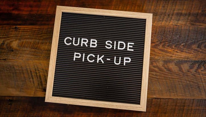 curbside pickup sign board
