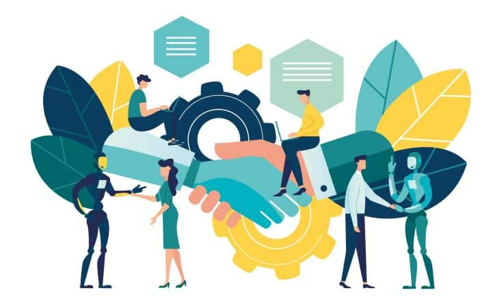 Illustration of influencers andbrand bots making a connection, shaking hands.