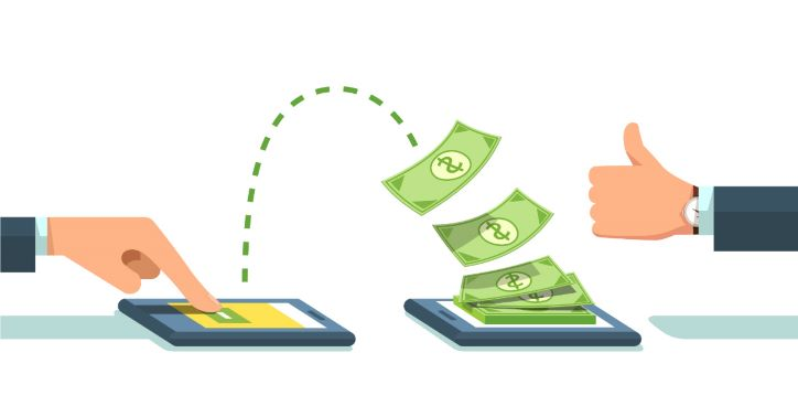 Digital transaction - money flying over from one device to another