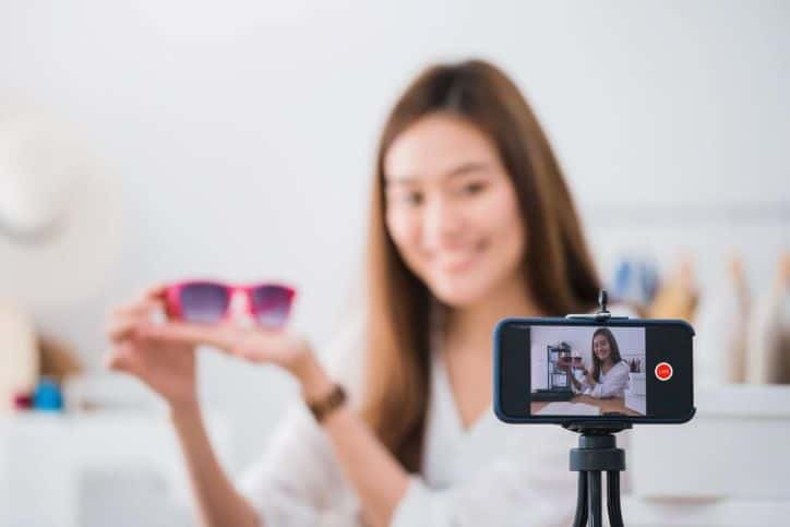 Brand Ambassador recording a promotional video.
