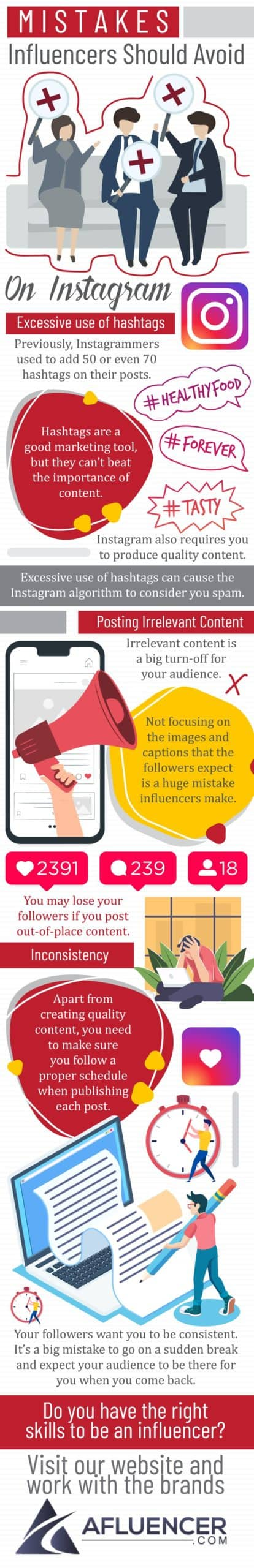Mistakes Influencers Should Avoid On Instagram | Afluencer Infographic