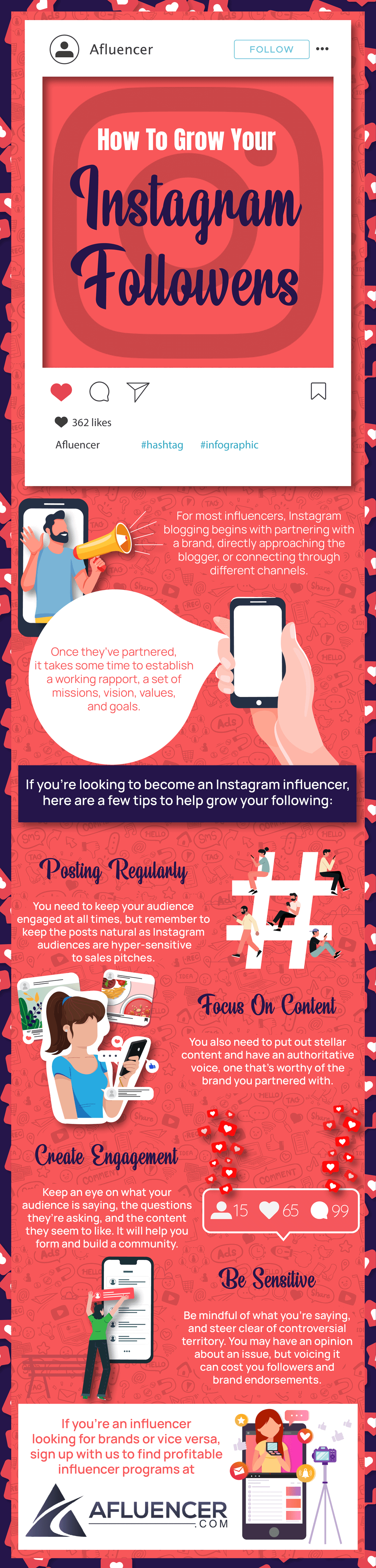 How to Grow Instagram Followers | Afluencer Infographic