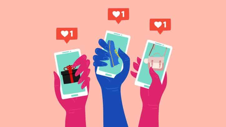illustration of 3 hands with 3 phones liking products on social media