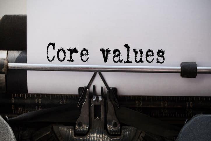 Core Values typed on typewriter