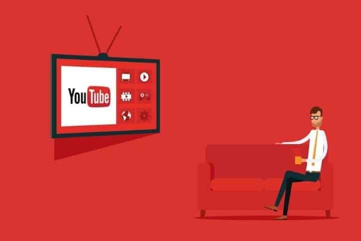 Illustration with red background of man sitting on red sofa watching YouTube on TV