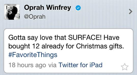 Oprah Winfrey | Promotional Tweet for Microsoft Surface Gone Wrong