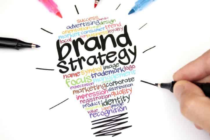 Brand Strategy | Light bulb made with text ideas for improving brand image