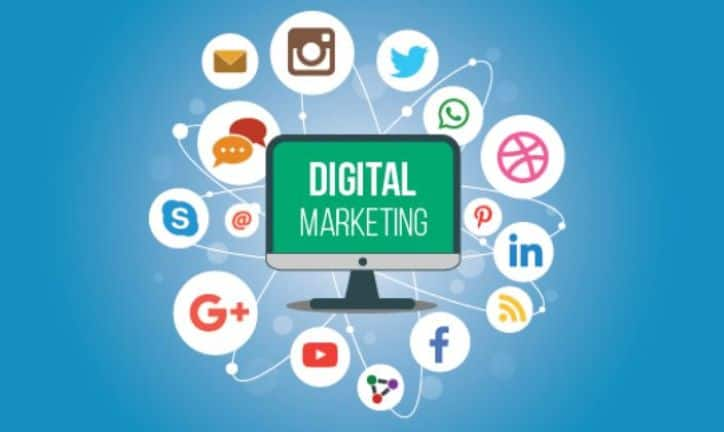 Digital Marketing | Monitor Surrounded by Social Icons