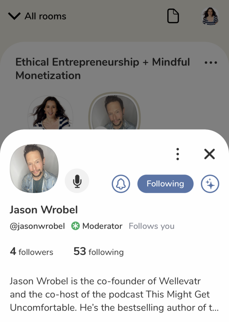Profile view of Jason Wrobel on Clubhouse