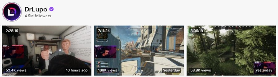 DrLupo   Twitch Channel   Recent Broadcast Videos