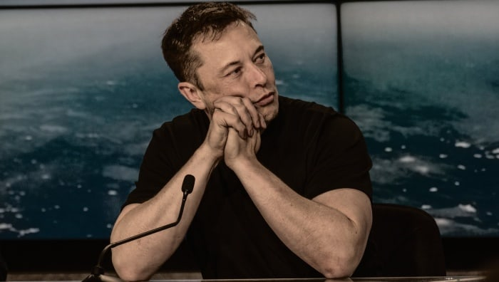 Elon Musk   Gazes into space during a press conference