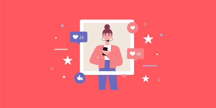 Influencer illustration surrounded by likes