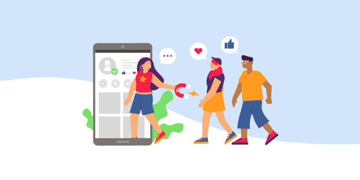 Illustration of influencer attracting followers with a big magnet