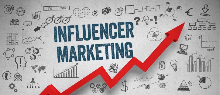 Influencer marketing red arrow rising