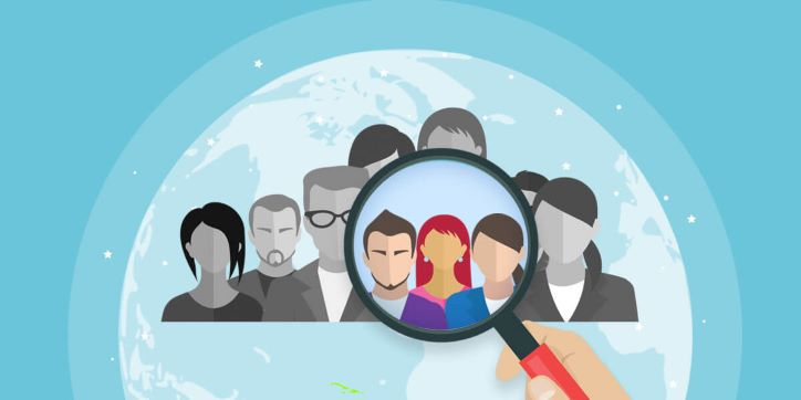 Illustration with magnifying glass search for target audience
