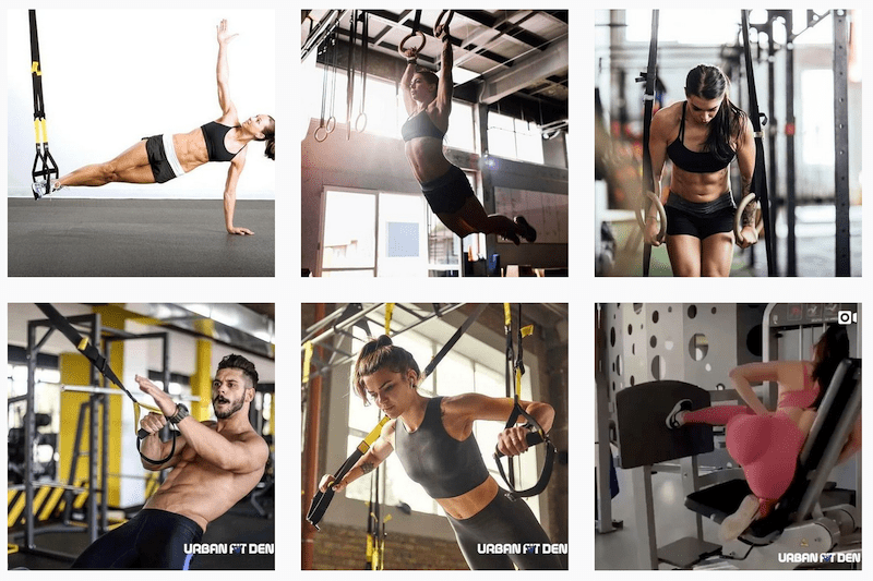 Gallery of fitness professionals demonstrating various workout routines
